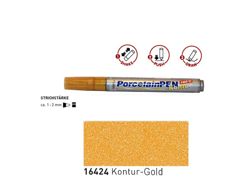 Porcelan Pen Kontur - Gold